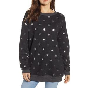 NWT Wildfox Shimmery Snowflake Road Trip Pullover
